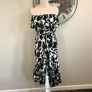 Tolani High Low Ruffle Dress with Flower Pattern